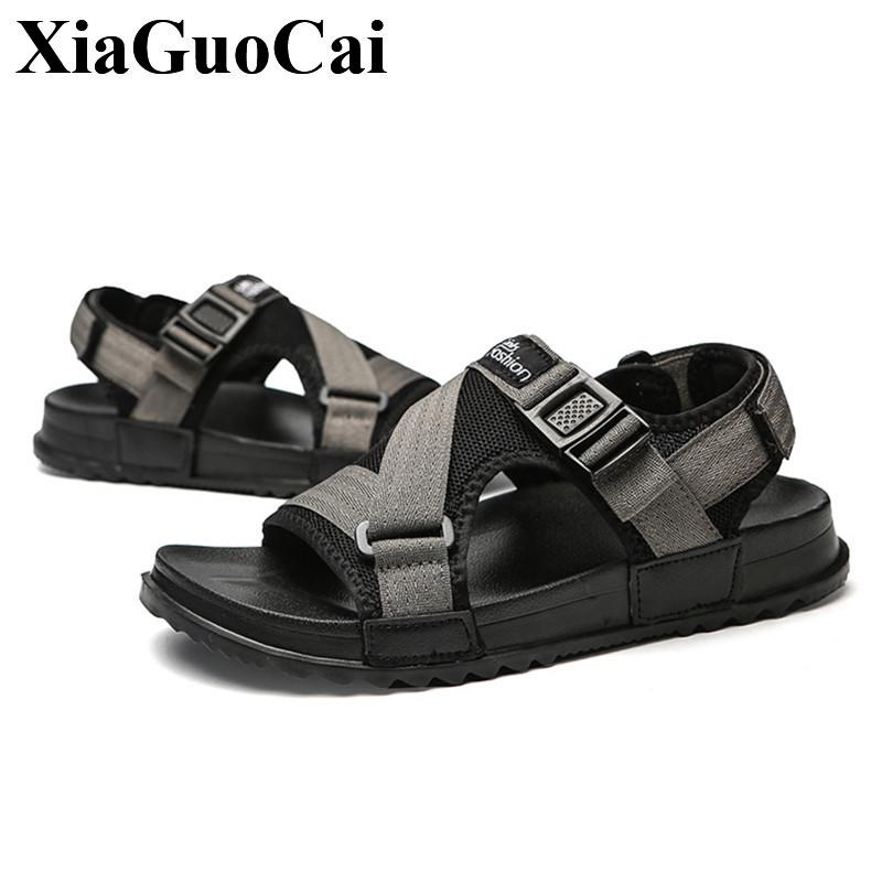 a65aa6129 Men Sandals Summer Shoes Outdoor Beach Male Casual Slippers Large Size 2019  Gladiator Stylish Flip Flops Flat Footwear Anti Skid Wholesale Shoes  Sandles ...