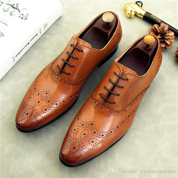British carved Oxford lace-up shoes men business suits custom-made wedding shoes genuine leather men's dress shoes