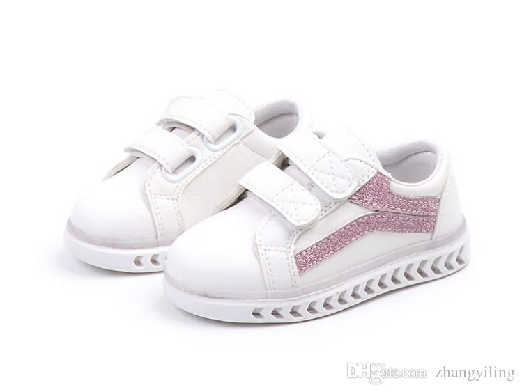 66b873623 Designer New Girls Leisure Shoes Soft Soled Luminous Shoes Boys Sports LED  Lighting Childrens Small White Shoes Kids Slip On Shoes Dress Shoes For  Boys From ...