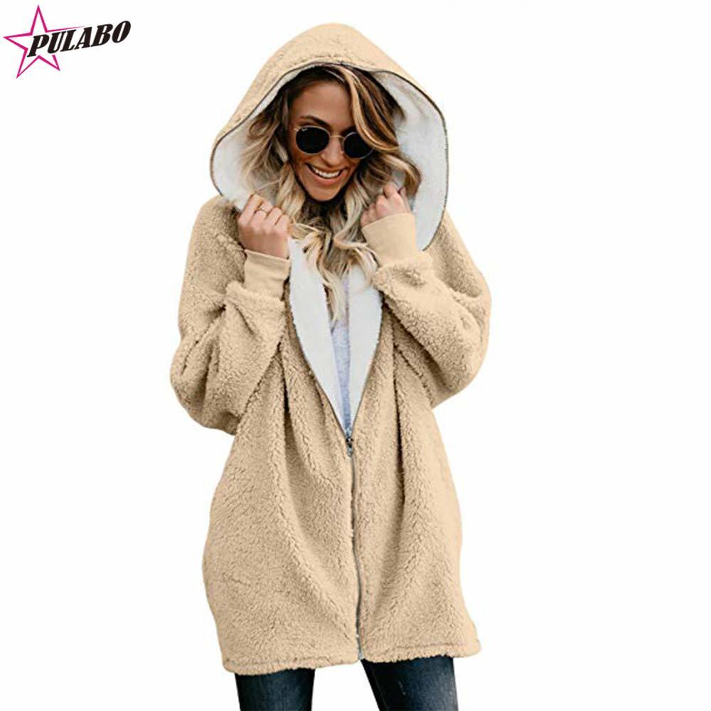 Wintermantel für Frauen Kunstpelz Fleecejacke Sherpa Gefüttert Zip Up Hoodies Strickjacke Womens Plus Size Fashions Cape Coat