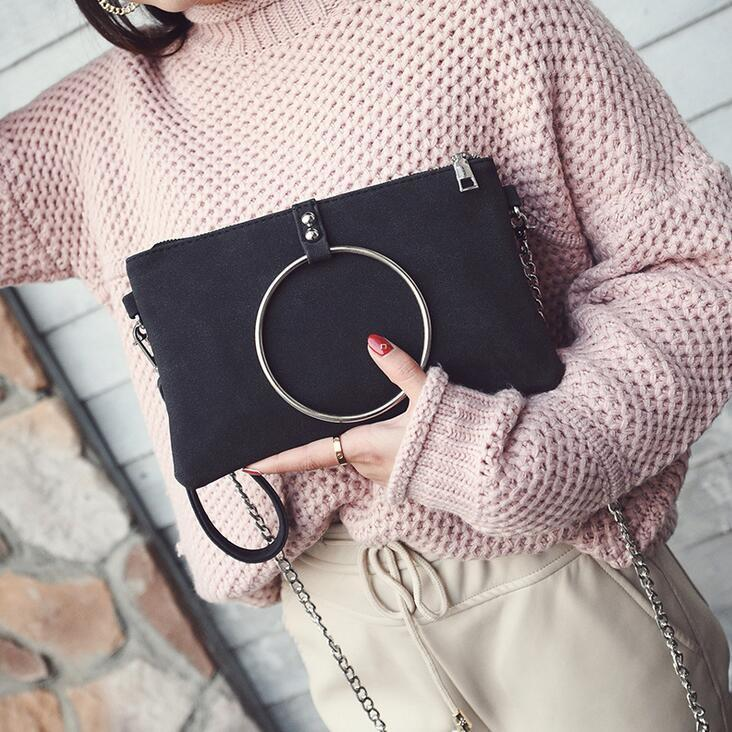 1f2a137f5a3e 2019 Fashion New Handbags Quality Matte Pu Leather Women Bag Metal Ring  Portable Shoulder Bag Retro Chain Envelope Female Bag Leather Bags Designer  Purses ...