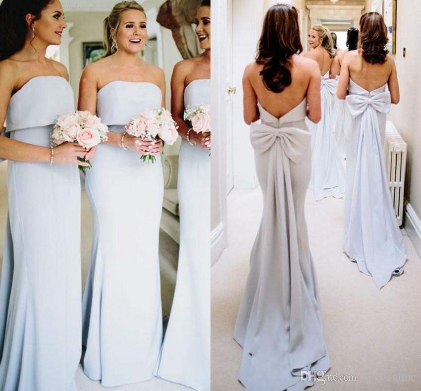 Cheap Bridesmaid Dresses 2019 Strapless Backless With Big Bow Long Summer Beach Wedding Guest Dress Maid Of Honor Gowns Bm0338