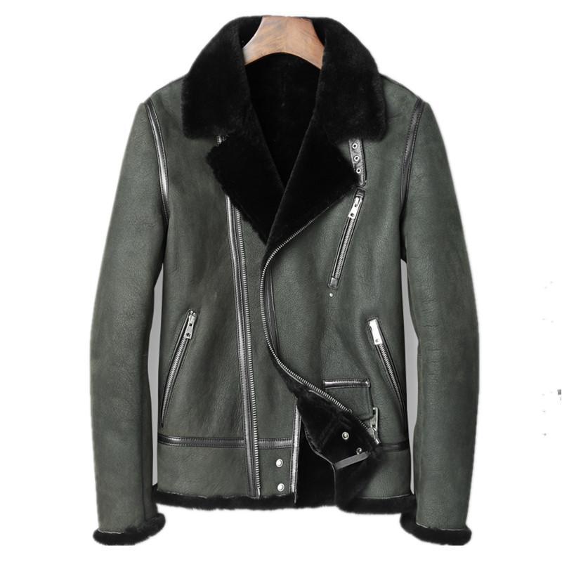 0c28e5c2c7 Giacca in vera pelle giacca invernale uomini vera pelle di pecora cappotto  per uomo lana naturale pelliccia calda cappotti plus size chaqueta hombre  ...