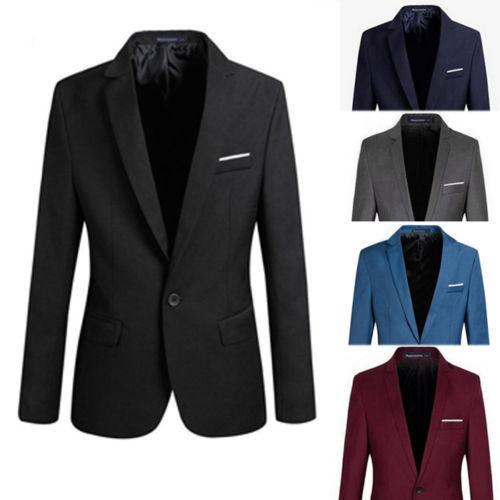2019 S-4XL Men's Formal Slim Fit Formal One Button Suit Long Sleeve Notched Blazer Cotton Blend Coat Jacket Top
