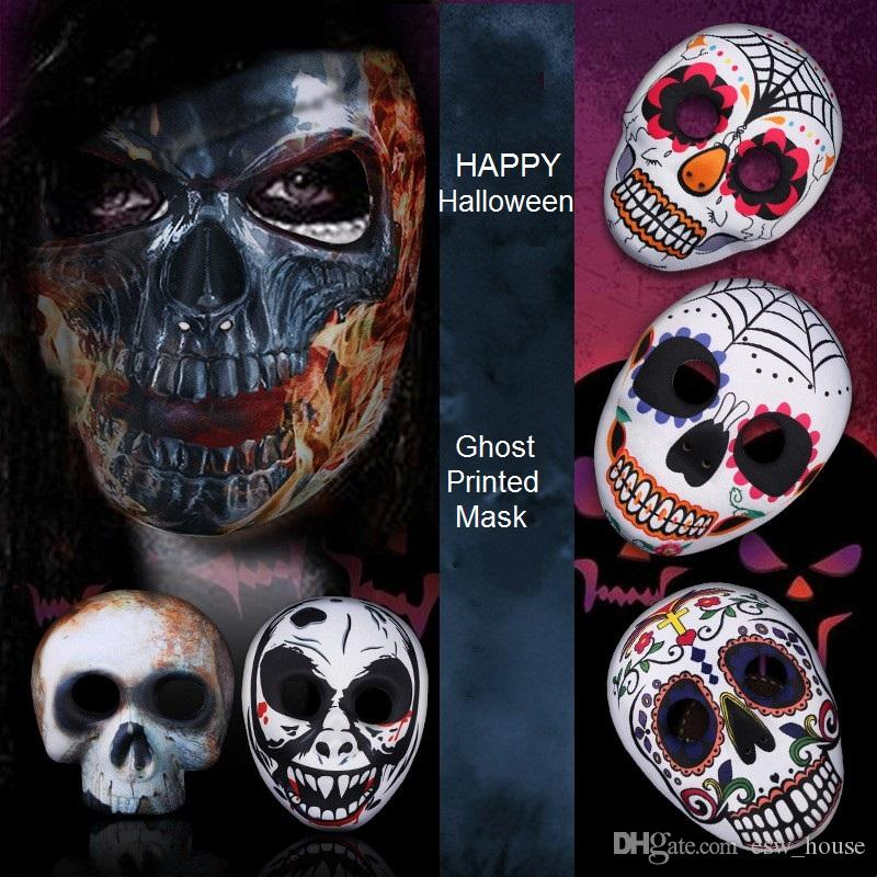 Halloween Skull Printed Mask Adult Full Face EVA Skull Mask Halloween Ghost Cosplay Masquerade Party Masks