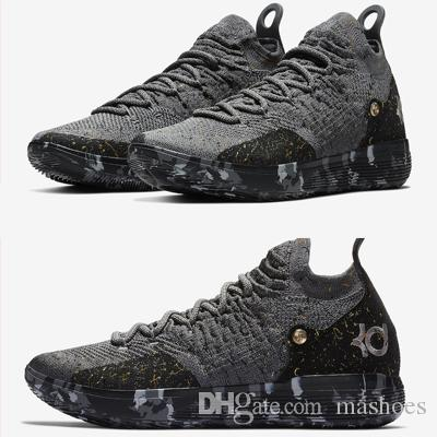 2e2ecdd0264 Top Quality KD 11 Casual Shoes Gold Splatter Kevin Durant 11s Designer Multi  Color Metallic Gold Mens Shoes Size 7 12 White Mountain Shoes Sneakers From  ...