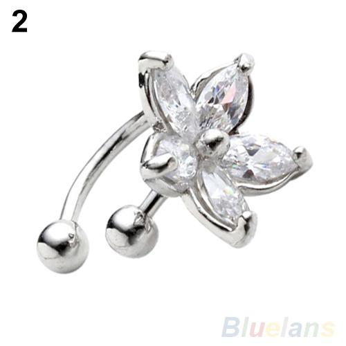 Clip Earrings Official Website 1pc Womens Fashion Cz Crystal Gold Silver Flower U Shape Ear Cuff Clip-on No Piercing Earring Wrap Clip For Women Earrings