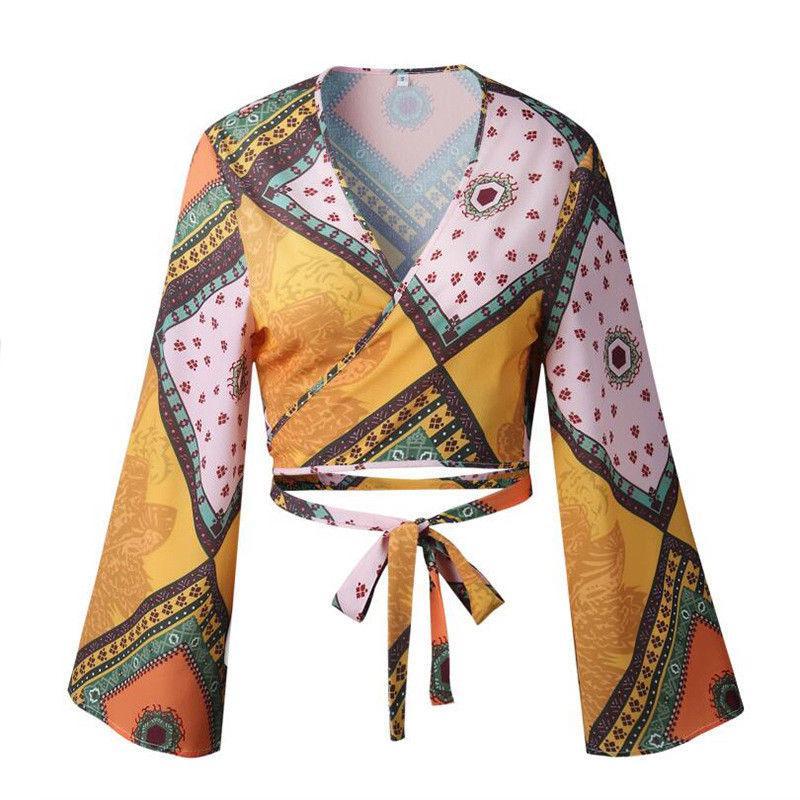 Fashion Casual Womens Ladies Sexy Deep V-neck Blouse Chiffon Long Sleeve Loose Casual Shirt