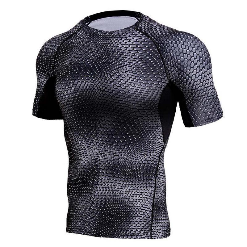 dcddd6c05c8fc Men s Tights Short Sleeve Quick-Dry T-shirt High Elastic Breathable ...
