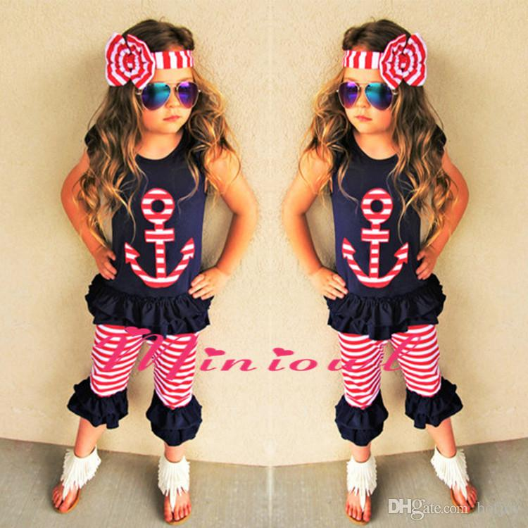 1pcs Baby Girl Clothes Set Kids Outfit Boutique Luxury Clothes Suit Black Shirt Shorts Pants Headband Toddler Summer Tracksuit Playsuit