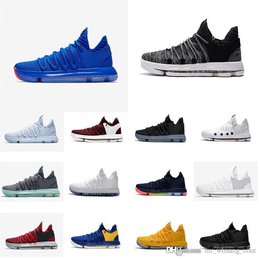a3de7c441a00 2019 Cheap New Women Kd 10 Basketball Shoes Oreo Blue Red Boys Girls Children  Youth Kids Kevin Durant KD10 X Air Flights Sneakers Boots For Sale From ...