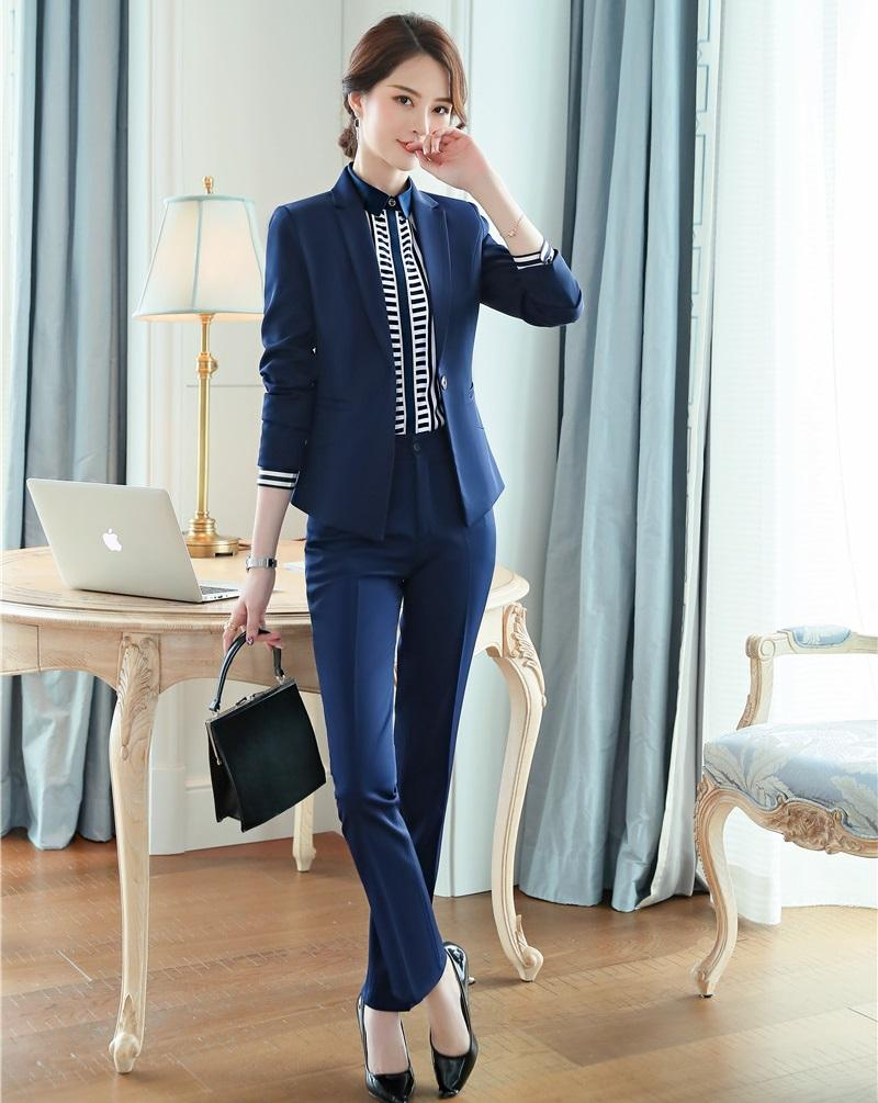High Quality Ladies Blue Blazer Women Business Suits Formal Office Suits Work Wear Uniforms Pant And Jacket Set Pantsuits Back To Search Resultswomen's Clothing