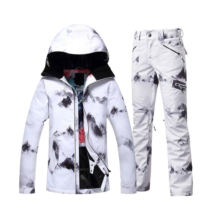 59611373d9 Women Snow Suit Sets Snowboarding Clothing Outdoor Sports Waterproof ...