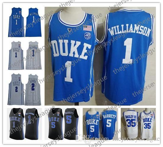 2019 Duke Blue Devils  1 Zion Williamson  5 RJ Barrett  35 Marvin Bagley  III White Black Royal Blue Stitched NCAA College Basketball Jerseys From ... eb3048c0f