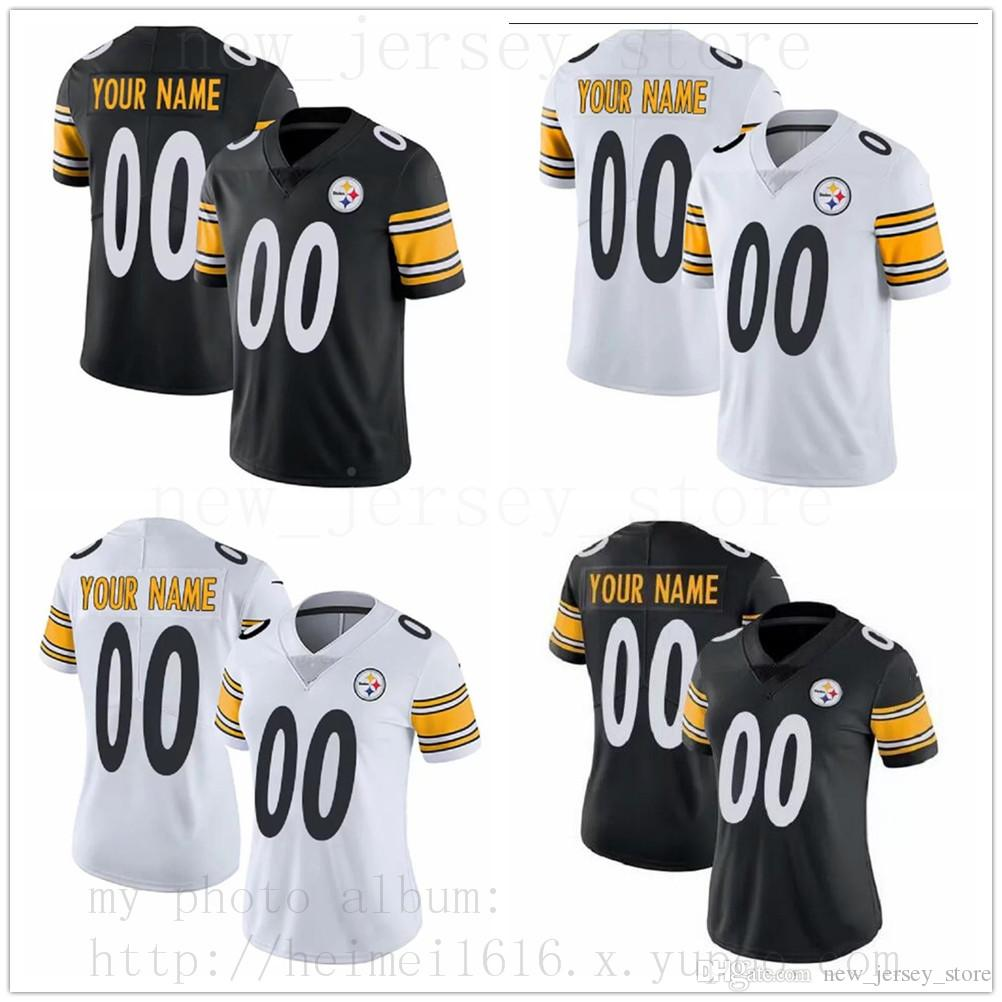 1aa0c8e98e7 2019 Custom PittsburghSteelers Jersey Mens Women Youth Black White  RushLimited Jerseys Message Number And Name On The Order From  New jersey store
