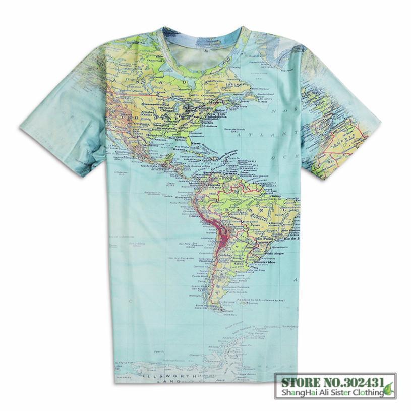 3D Print World Map Pattern Women Men Casual T-Shirts Short Sleeve Harajuku Tops