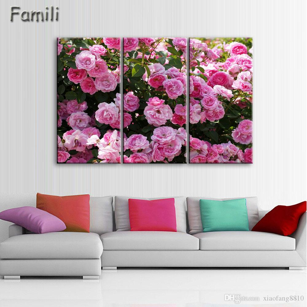 3panel combined flower paintings purple rose modern wall painting canvas wall art picture unframed canvas painting