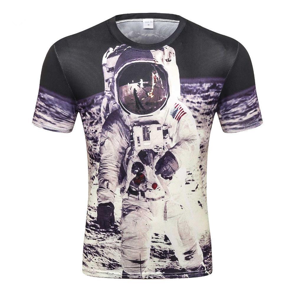 6b919f603 Compre Espacio Camiseta Para Hombre   Niño Camiseta 3d Impresión Divertida  Gran Astronauta En La Luna Verano Tops Camisetas Camiseta Creativa D 80 A   22.05 ...