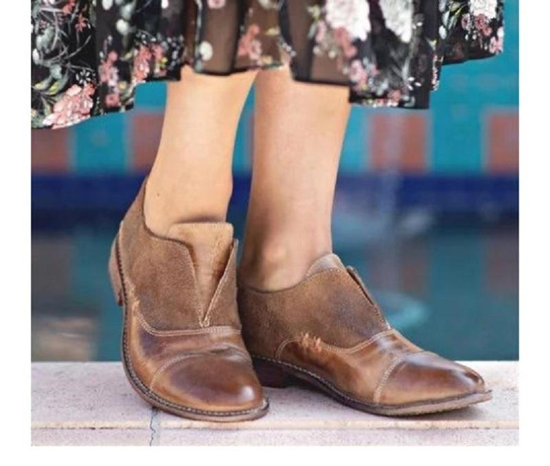 Spring Autumn Woman Shoes Faux Leather Vintage Pumps Women Low Heels Casual Slip On Ladies Shoes Plus Size Zapatos Mujer