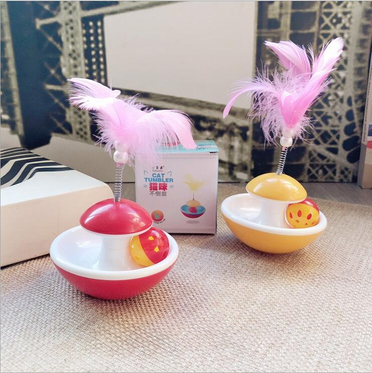 Pet Supplies New Cat Toy Feather Bell Tumbler Divertente Cat Feather Ball con campana di recente disegno Bird Feather Cat Toys