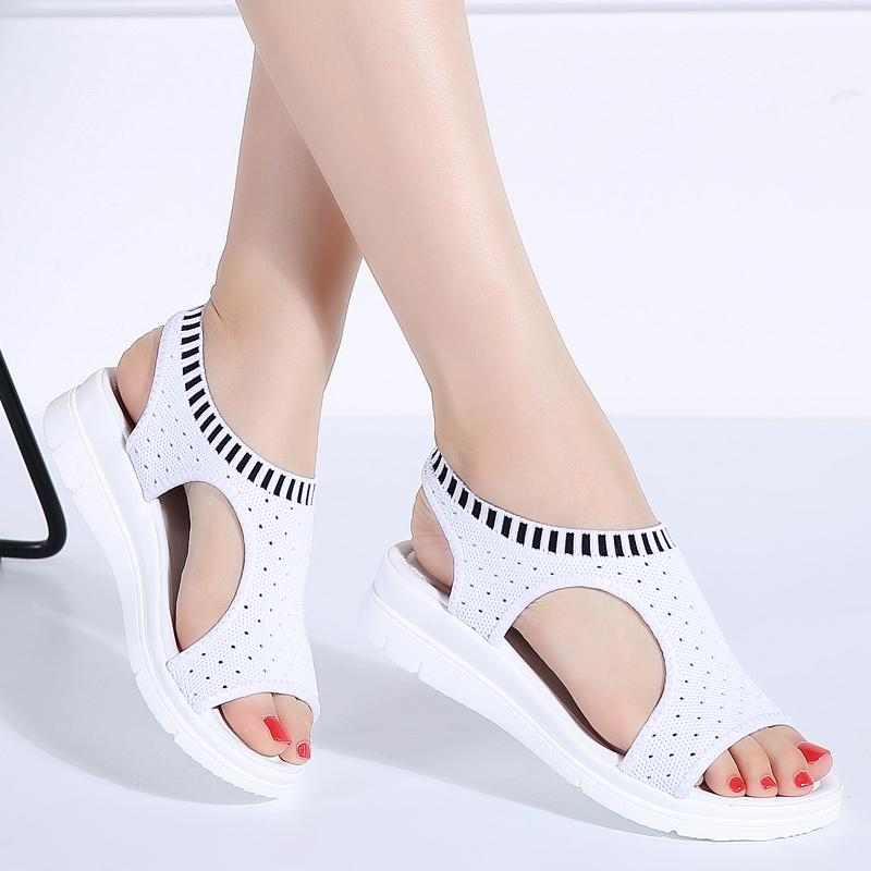 Women Sandals Summer 2019 New Female Shoes Woman Summer Wedge Comfortable Ladies Slip-on Flat Women Sandalias
