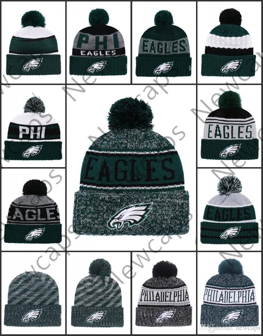 4882aadfaa686 Compre Venta Al Por Mayor De Filadelfia Deporte Sombreros De Invierno Eagles  Stitched Team Logo Marca Hombres Calientes Mujeres Venta Caliente De Punto  ...