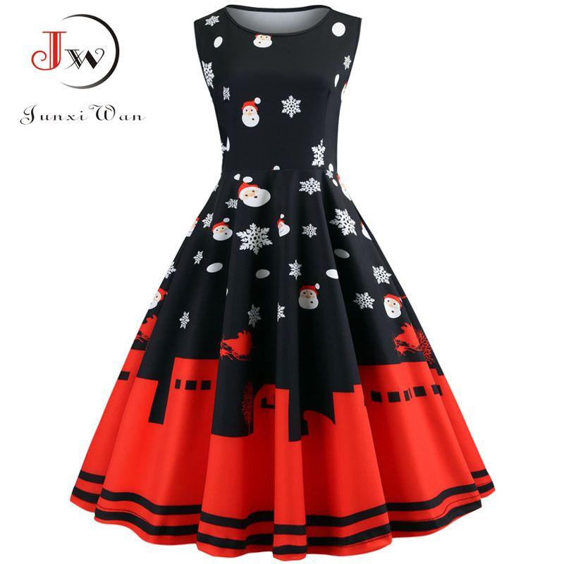 Women Christmas Floral Slim Vintage Dress Sleeveless Casual Elegant Party  Festival Gift Dresses Vestidos Plus Size C19041701