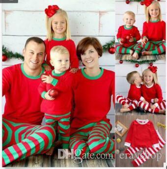 30ea38f1b7 Autumn Warm Fall Winter Xmas Printed Striped Christmas Family Kids Women  Red Green Sleepwear Pajamas Set Striped Cotton Pyjamas 264 Red Green  Christmas ...