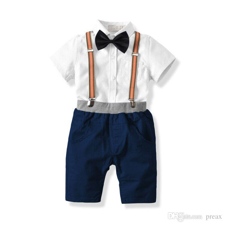1 2 3 4 5 6 Years Baby Boys Suits Clothing Cotton Bowtie Gentleman Clothes Suit Costume White Shirt + Shorts Boys Formal Outfit