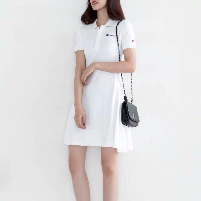 Summer Women Embroidery Shirt Dress Casual Big C Cotton Polo A-Line Skirt Female Fresh Sweet Apparel