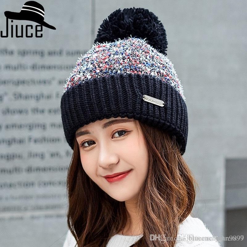 91e90a8976b New Ladies Winter Plus Velvet Earmuffs Warm Hat Color Matching ...