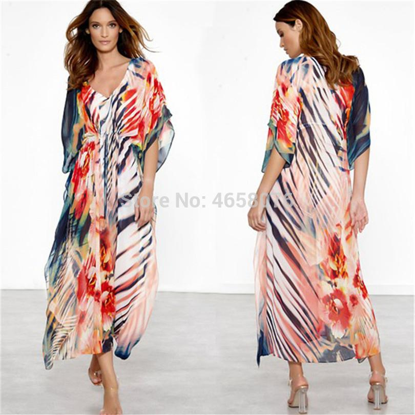 451dd94e12 Beach Dress Kaftan Pareo Sarongs Sexy Cover-Up Chiffon Bikini ...