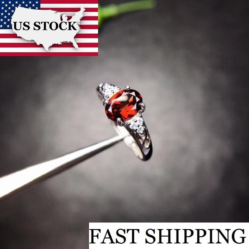 Natural Garnet Ring, 925 Sterling Silver, Size 4-13, 5*6mm Certified Oval Shape Red Gemstone Wedding Jewelry For Women Fj203 J190612