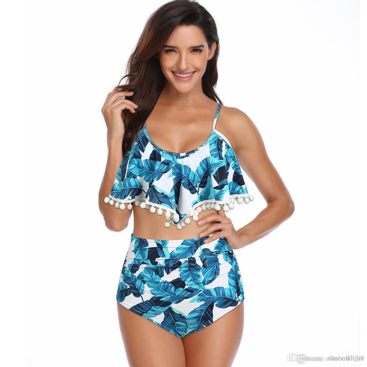 3f7f2d05c326 Acquista Taglie Forti Costumi Da Bagno Bikini Costumi Da Bagno Con Balze  Arruffate In Pizzo Foglia Floreale Senza Schienale Vita Alta Imbottito  Senza ...