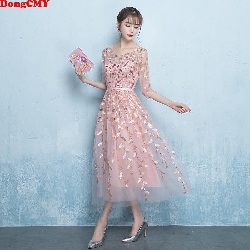 b743f2811a103 Dongcmy New Short Prom Dresses Vestido Elegant Pattern Illusion Party Dress  Y19042701