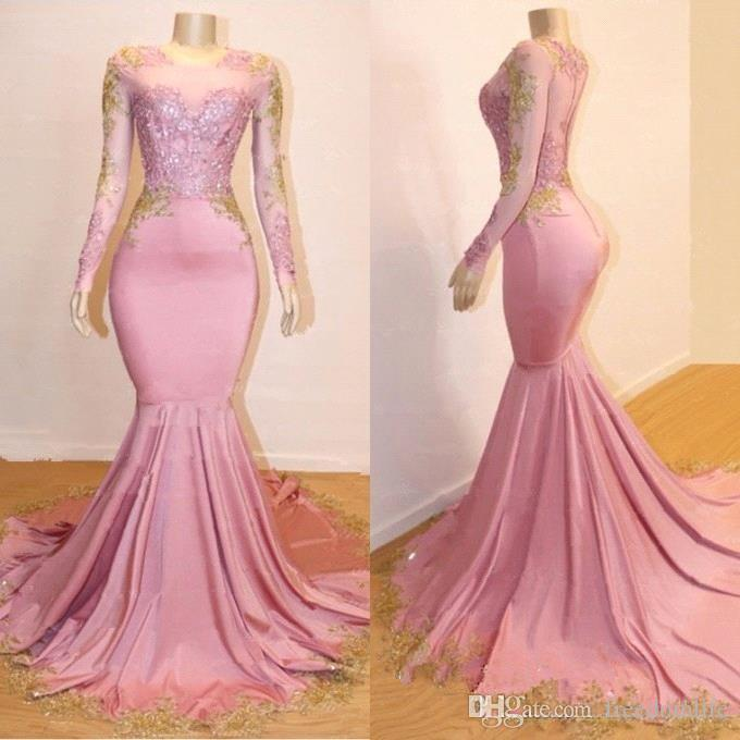 1bd1c23269b 2019 Pink Mermaid Prom Dresses Long Sleeves Gold Lace Applique Sweep Train  Formal Black Girls Party Dress Cheap Evening Gowns Second Hand Prom Dresses  ...