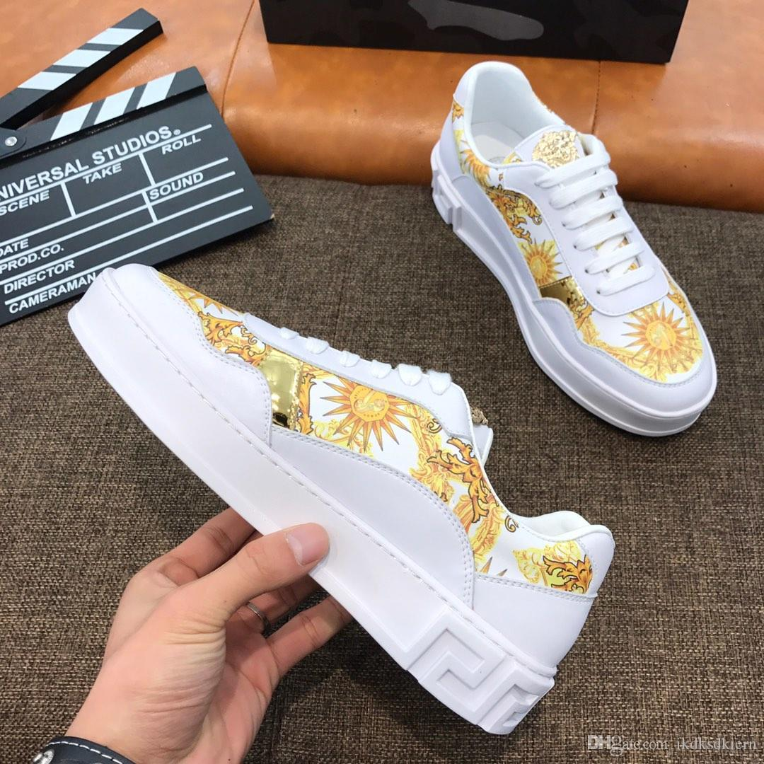 2019 custom men's Du Meisha printed casual shoes, fashion white shoes, wild shoes, comfortable sports shoes: original box packaging: 38-44