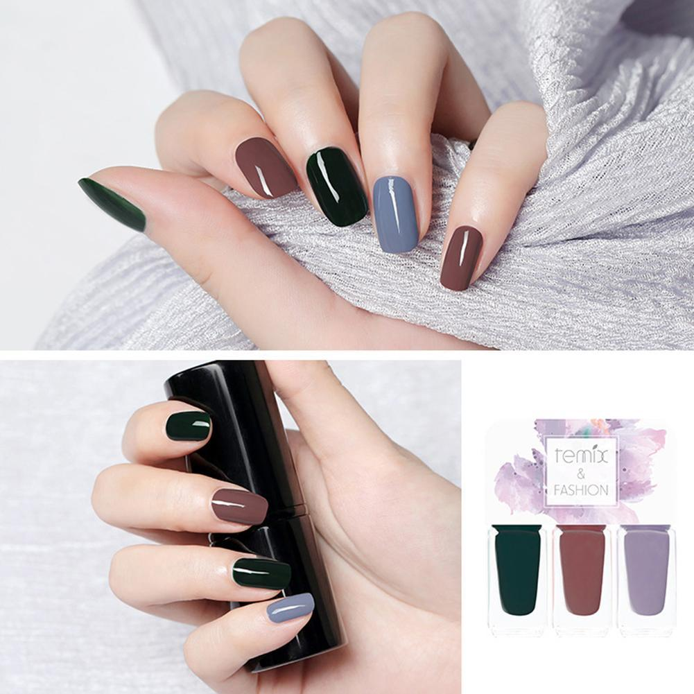 3Pcs Natural Resin Temix Jelly Non Toxic Soak Off Nail Polish Quick Drying  Lacquer Varnish New Well
