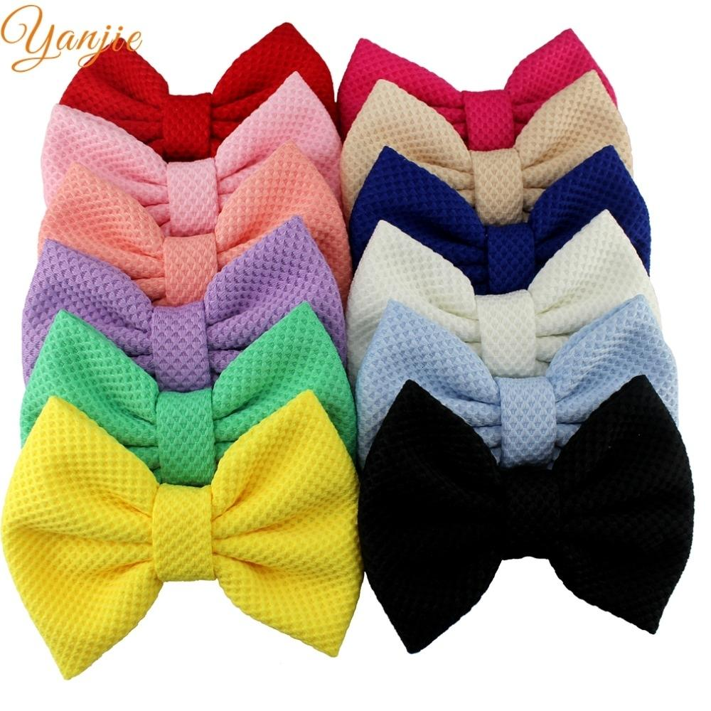 "12pcs/lot 2019 Hot-sale Boutique 5"" Cotton Hair Bows Kids Girl DIY Hair Accessories For Kids Headwear Hair Clip BarretteMX190917"