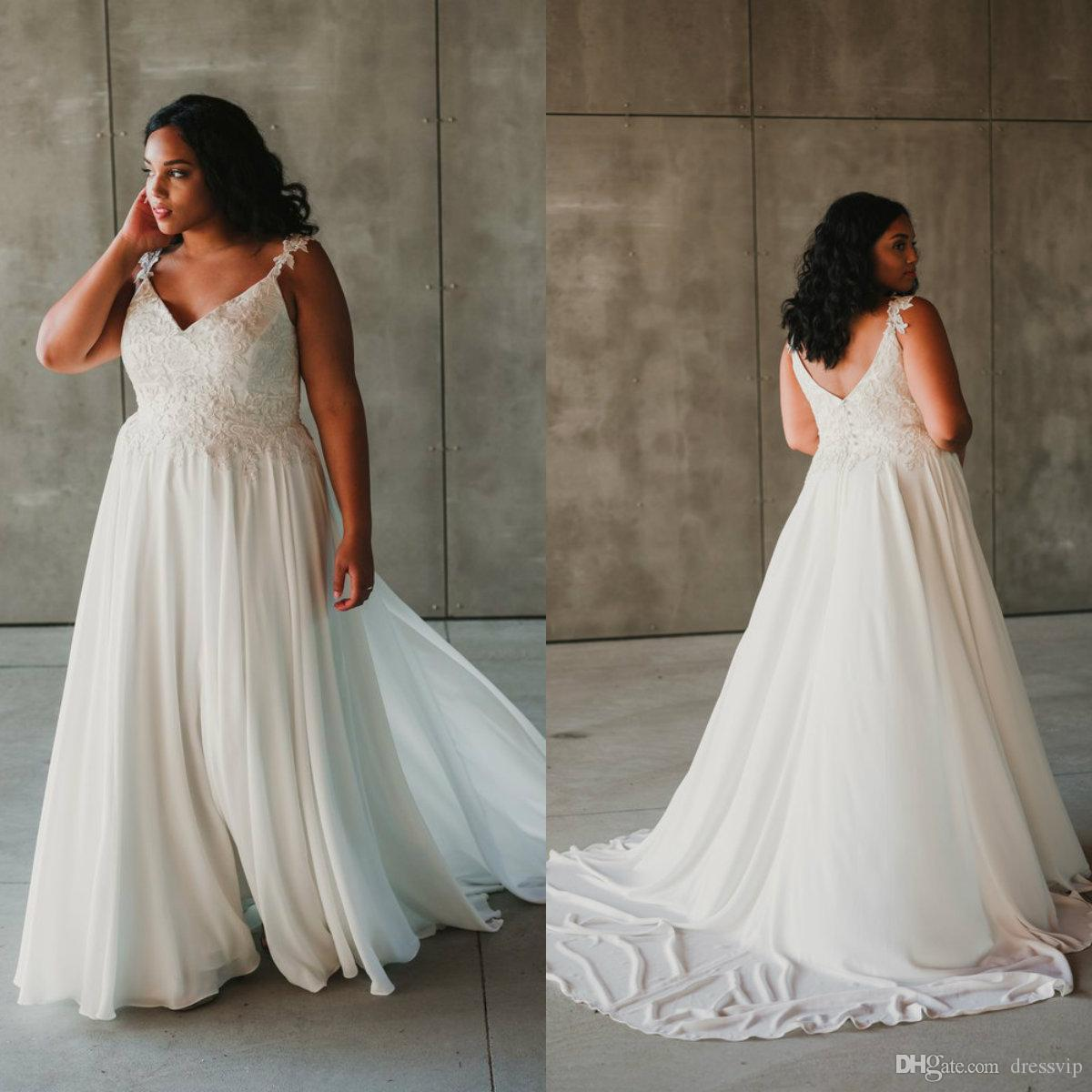 Discount Chic Plus Size Wedding Dresses Straps A Line Lace Appliques ...