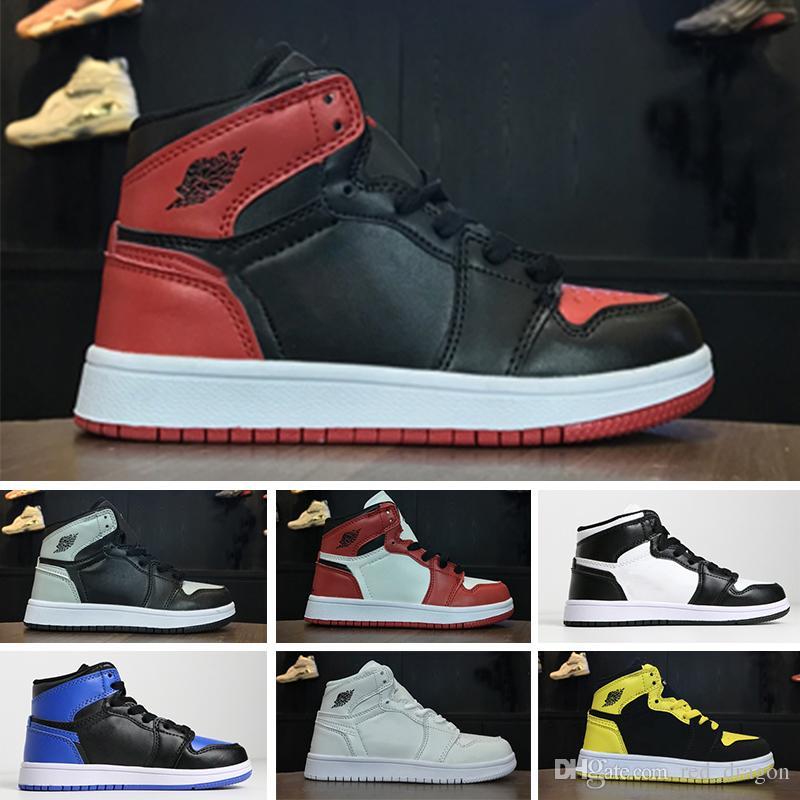 2e221975dbb8f Acheter Nike Air Jordan 1 Retro PreSchool Conjointement Signé Haut OG 1s  Jeunes Enfants Chaussures De Basketball Chicago Nouveau Né Bébé Infant  Toddler ...