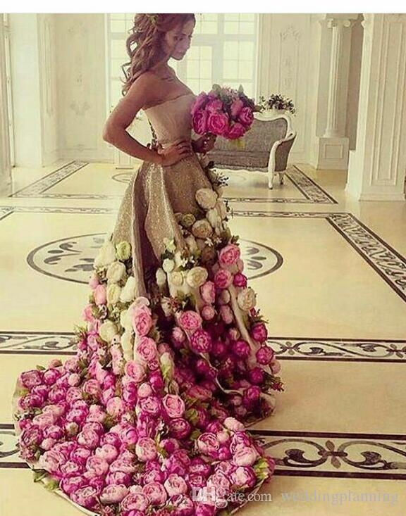 Saudi Arabia Strapless Evening Gowns Gold Sequins Hand Made 3D Flowers A Line Prom Dresses Arabic vestidos de gala