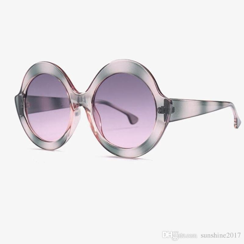 a61a61bb83 Oversized Sunglassses 2018 Shiny Glitter Striped Famous Brand Large Round  Female Sunglasses Fashion Retro Glasses Luxury Shade Online with   7.37 Piece on ...