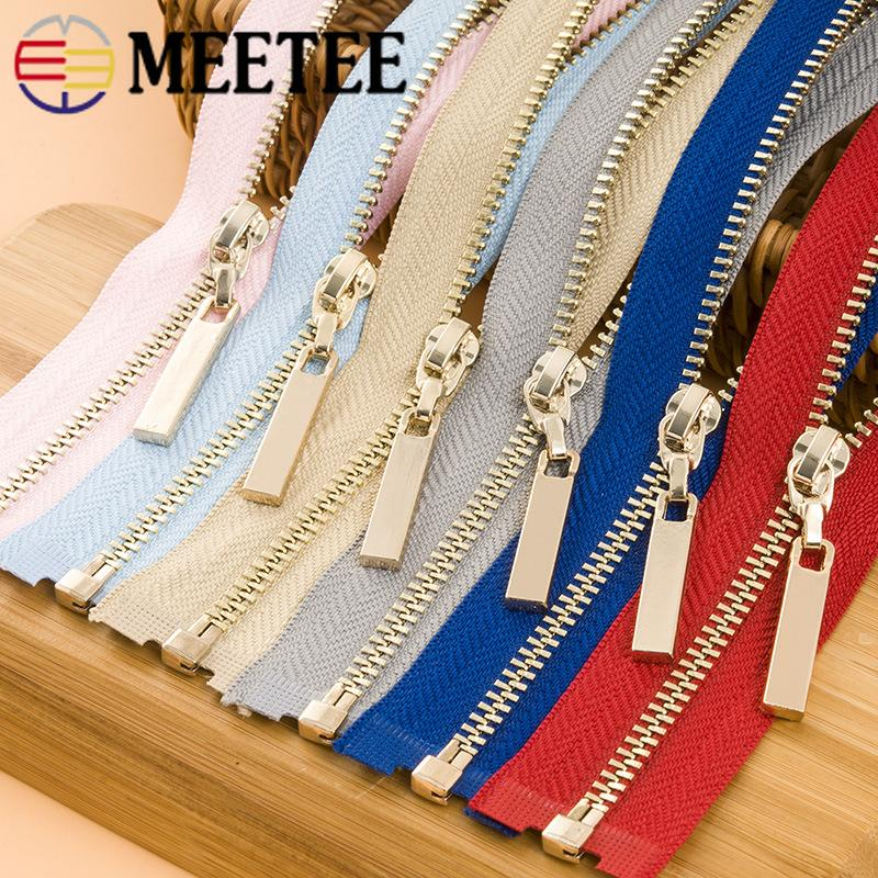 Meetee 3# Metal Open End Zippers 40/70cm Gold Teeth Long Zip Closure for Sewing Bags Down Jacket Skirt Clothing Accessories