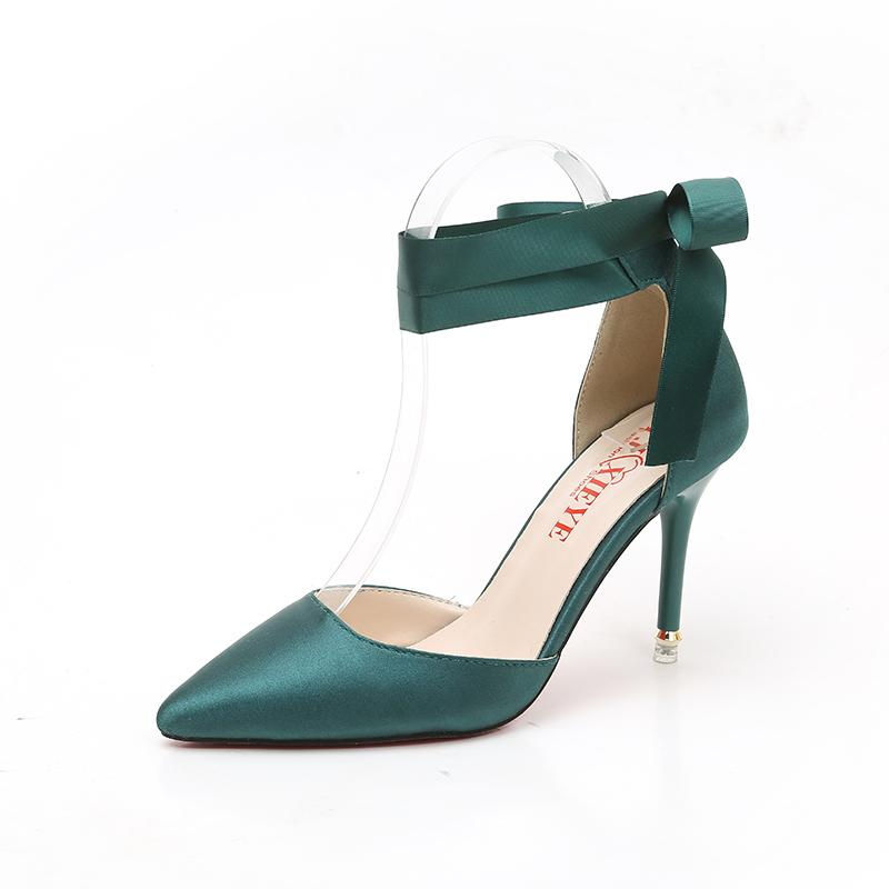 Dress Brand Satin Women Pumps Ribbon Strap Thin Ultra High Heels Stiletto  Shoes Pointed Toe Paty Wedding Shoes Pink Green Red Bottom Shoes Online  Basketball ... f5e9a5ab1dc6