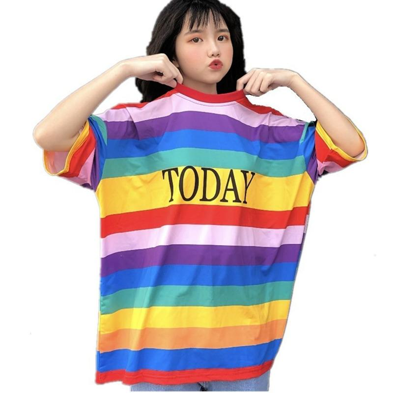 f9f67764274d53 Plus Size New Spring Summer Women's Striped T-shirts Korea Fashion Harajuku  Rainbow Letter Printed Oversize Casual Kawaii Tops