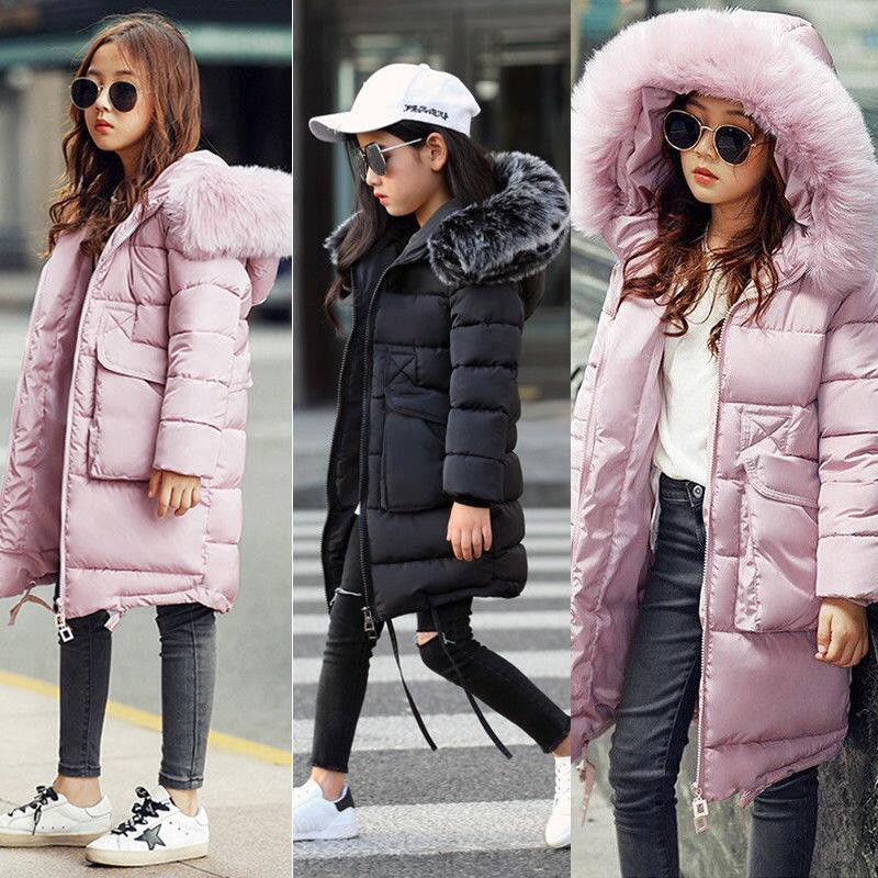 b8c76faabf94 Girls Kids Padded School Quilted Winter Coat Jacket Puffer Fur ...