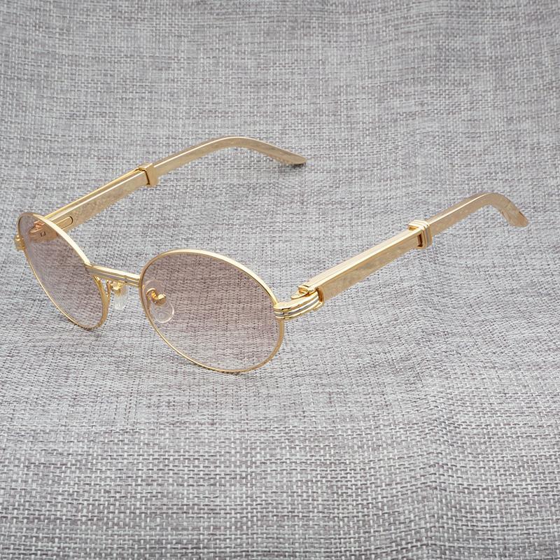 4b541302e8 Compre Gafas De Sol Doradas De Lujo De Los Hombres Redondos Gafas De Sol De  Acero Inoxidable Gafas Gafas Para El Club Y La Conducción De Gafas  Transparentes ...