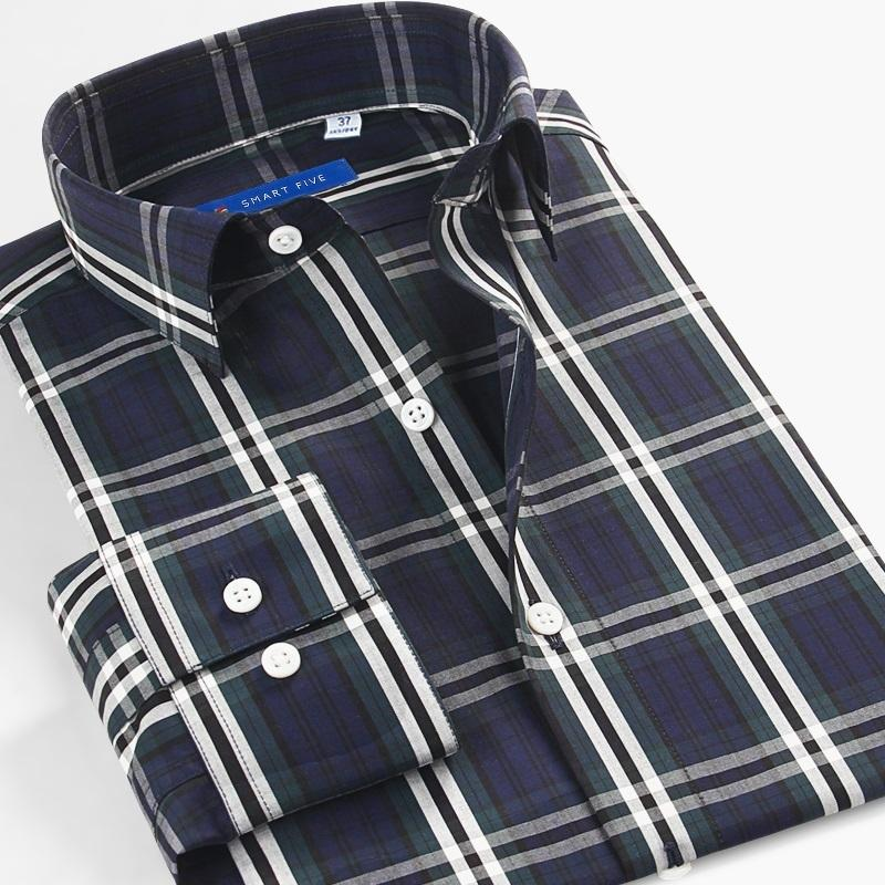 Smart Five Brand Long Sleeve Casual Shirts For Men Designs High Quality Cotton Slim Men Shirts Dress Big Size 45 46