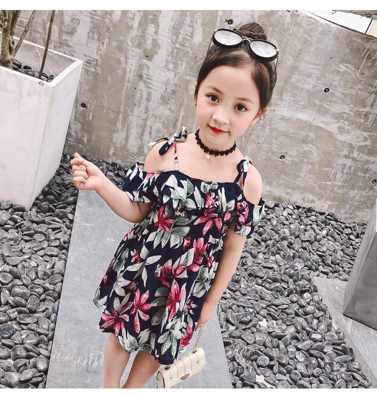 7837d722a4db5 Girls princess summer dresses kids floral printed strap short sleeve dress  baby beach casual party clothes children 2-7 years